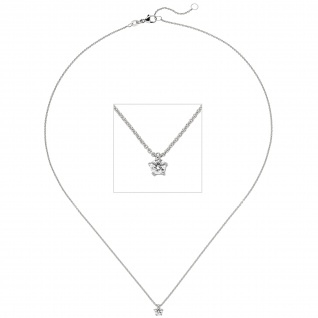 Collier Kette mit Anhänger 585 Gold Weißgold 1 Diamant Brillant 0, 25 ct. 45 cm