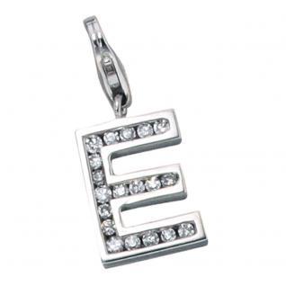 Einhänger Charm Buchstabe E 925 Sterling Silber mit Zirkonia