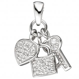 Anhänger Herz / Schloss / Schlüssel 925 Sterling Silber rhodiniert mit Zirkonia