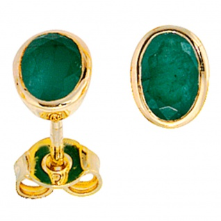 Ohrstecker oval 585 Gold Gelbgold 2 Smaragde grün Ohrringe Goldohrstecker