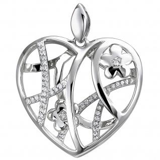 Anhänger Herz mit Blumen 925 Sterling Silber 47 Zirkonia Silberanhänger