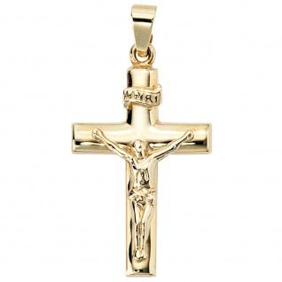 Anhänger Kreuz 333 Gold Gelbgold Kreuzanhänger Goldkreuz mit Jesus INRI