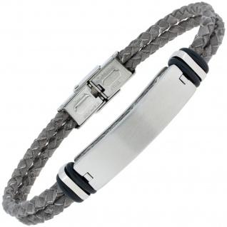Armband Leder grau geflochten mit Edelstahl matt 23 cm