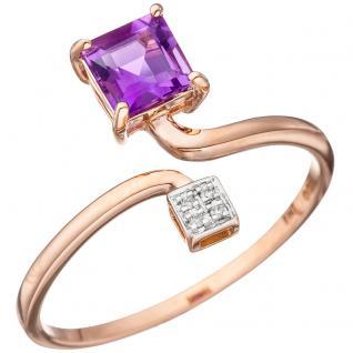 Damen Ring 585 Rotgold bicolor 4 Diamanten Brillanten 1 Amethyst lila violett