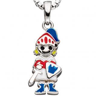 Kinder Anhänger Ritter 925 Silber mit Lackeinlagen rot / blau Kinderanhänger - Vorschau 2