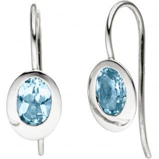 Ohrhänger oval 925 Silber 2 Blautopase hellblau blau Ohrringe Silberohrringe