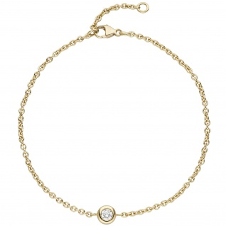 Armband 750 Gold Gelbgold 1 Diamant Brillant 0, 10ct. 18 cm