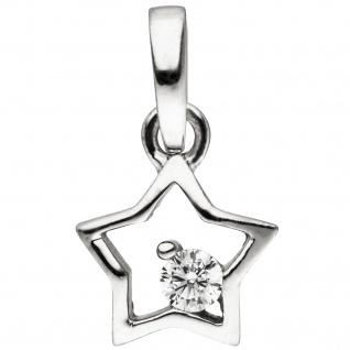 Kinder Anhänger Stern 925 Sterling Silber 1 Zirkonia Silberanhänger
