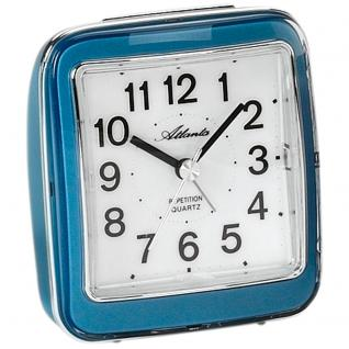 Atlanta 1772/5 Wecker Quarz analog blau leise ohne Ticken mit Licht Snooze