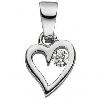 Anhänger Kleines Herz 925 Sterling Silber 1 Zirkonia Herzanhänger