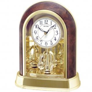 Rhythm 7696/20 Tischuhr Quarz mit Drehpendel golden braun SWAROVSKI® ELEMENTS