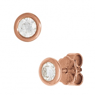 Ohrstecker rund 585 Gold Rotgold 2 Diamanten Brillanten 0, 10ct. Ohrringe