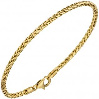 Zopfarmband 585 Gold Gelbgold 19 cm Armband Goldarmband Karabiner