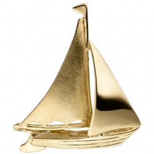 Anhänger Segelschiff 925 Sterling Silber gold vergoldet teil matt
