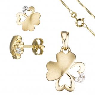 Schmuck-Set Kleeblatt 333 Gold Gelbgold 7 Zirkonia Ohrringe und Kette 42 cm