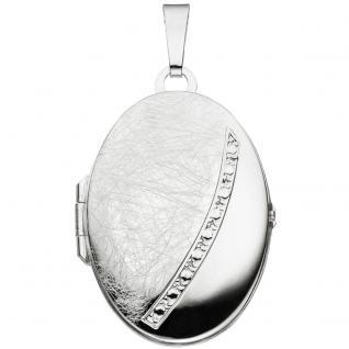 Medaillon oval 925 Sterling Silber eismatt Anhänger zum Öffnen - Vorschau 1