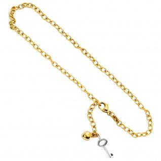 Fußkettchen Fußkette 585 Gold Gelbgold Weißgold bicolor 26 cm Karabiner - Vorschau 3