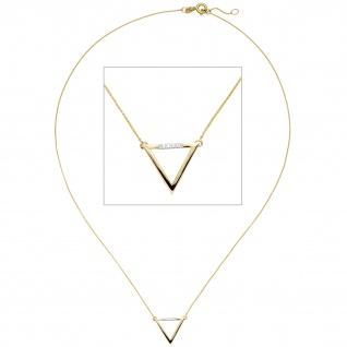 Collier Halskette Dreieck 585 Gold Gelbgold 5 Diamanten Brillanten 42 cm Kette
