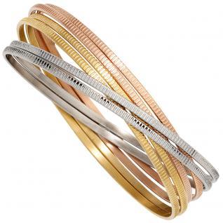 Armreif Armband breit 6-reihig Edelstahl tricolor dreifarbig
