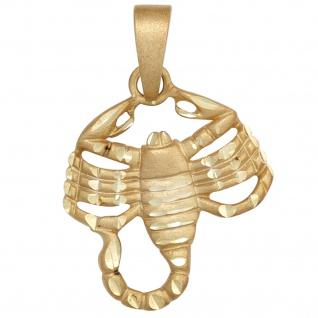 Anhänger Sternzeichen Skorpion 925 Sterling Silber gold vergoldet matt