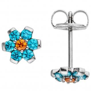 Ohrstecker Blume aus Edelstahl mit Kristallsteinen hellblau blau Ohrringe