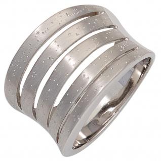 Damen Ring breit 925 Sterling Silber rhodiniert mattiert Silberring