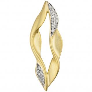Anhänger 585 Gold Gelbgold teil matt 32 Diamanten Brillanten Goldanhänger