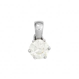 Anhänger 585 Gold Weißgold 1 Diamant Brillant 0, 15ct. Solitär Diamantanhänger