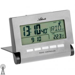 Atlanta 1872/19 Wecker Funk Funkwecker digital silbern mit Snooze Digitalwecker
