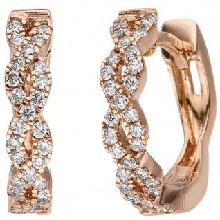 Creolen 585 Gold Rotgold 56 Diamanten Brillanten 0, 26 ct. Ohrringe