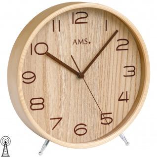 AMS 5118 Tischuhr Funk Holz naturfarben mit Glas