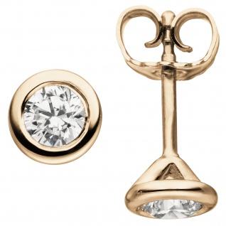 Ohrstecker rund 585 Gold Rotgold 2 Diamanten Brillanten 0, 74 ct. Ohrringe