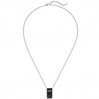 Collier Kette mit Anhänger Edelstahl schwarz mit Carbon Einlagen 55 cm