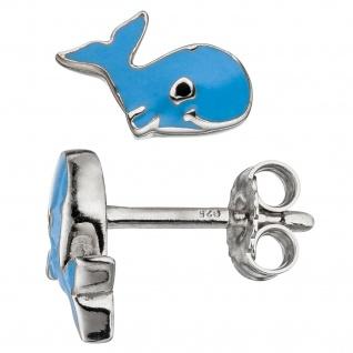 Kinder Ohrstecker Wal 925 Silber blau hellblau Ohrringe Kinderohrringe