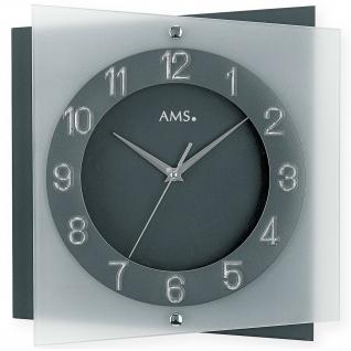AMS 9323 Wanduhr Quarz analog anthrazit grau leise ohne Ticken mit Glas