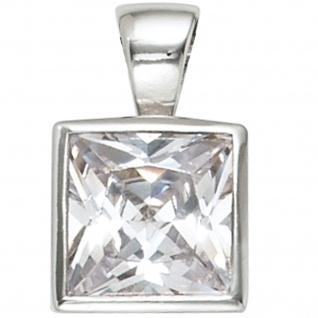 Anhänger quadratisch 925 Sterling Silber rhodiniert 1 Zirkonia