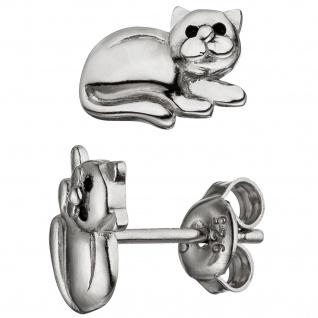 Kinder Ohrstecker Katze 925 Sterling Silber Ohrringe Silberohrringe
