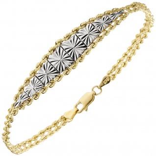 Armband 375 Gold Gelbgold bicolor diamantiert 19 cm Goldarmband