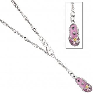 Fußkettchen Fußkette 925 Sterling Silber mit Zirkonia rosa pink 25 cm