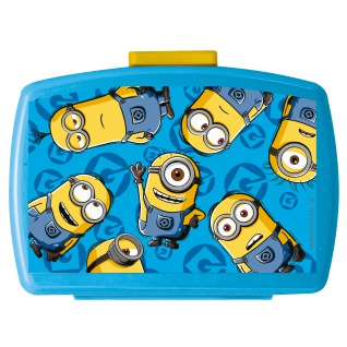 MINIONS Kinder Brotdose mit Einsatz aus Kunststoff blau
