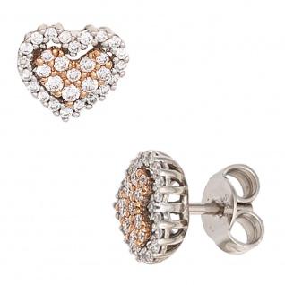 Ohrstecker Herz 585 Gold Weißgold Rotgold 60 Diamanten Brillanten Ohrringe