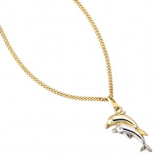 Kinder Anhänger Delfin Delfine 333 Gold bicolor Kinderanhänger Delfinanhänger - Vorschau 3