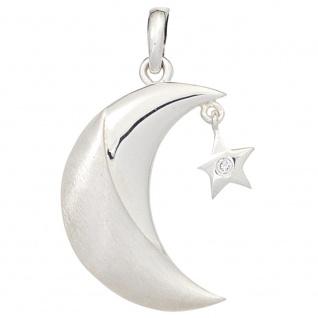 Anhänger Mond 925 Sterling Silber rhodiniert mattiert 1 Zirkonia