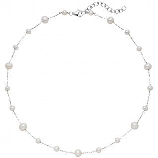 Collier Halskette 925 Sterling Silber mit 21 Süßwasser Perlen Kette 48 cm