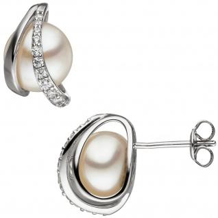 Ohrstecker 925 Silber 2 Süßwasser Perlen und Zirkonia Ohrringe Perlenohrringe
