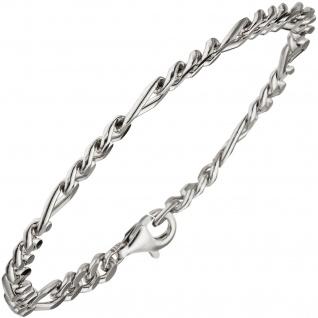 Figaroarmband 925 Sterling Silber diamantiert 21 cm Armband Silberarmband