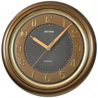 Rhythm 7802/3 Wanduhr Quarz analog golden braun leise mit Westminster Melodie