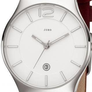JOBO Damen Armbanduhr Quarz Analog Edelstahl Lederband rot Datum Damenuhr - Vorschau 2