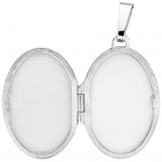Medaillon oval für 2 Fotos 925 Sterling Silber matt Anhänger zum Öffnen - Vorschau 3