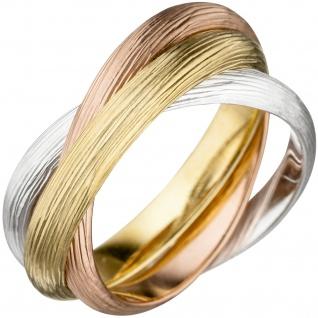 Damen Ring verschlungen 925 Silber tricolor vergoldet matt mattiert dreifarbig